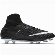 Nike Hypervenom Phantom III DF FG Soccer Cleats (Black/White/Game Royal)
