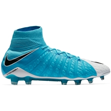 Nike Hypervenom Phantom III DF FG Soccer Cleats (White/Black/Photo Blue/Chlorine Blue)