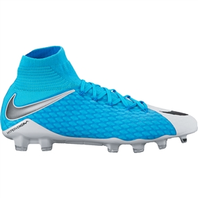 Nike Hypervenom Phatal III DF FG Soccer Cleats (White/Black/Photo Blue/Chlorine Blue)