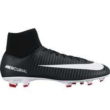 Nike Mercurial Victory VI DF FG Soccer Cleats (Black/White/Dark Grey/University Red)