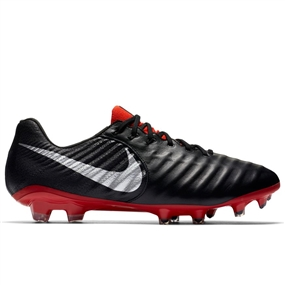 Nike Legend VII Elite FG Soccer Cleats (Black/Metallic Silver/Light Crimson)