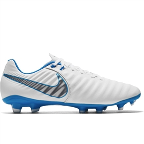 Nike Legend VII Academy FG Soccer Cleats (White/Metallic Cool Grey/Blue Hero)