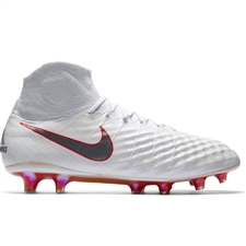 Nike Obra II Elite DF FG Soccer Cleats (White/Metallic Cool Grey/Light Crimson)