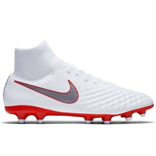 Nike Obra II Academy DF FG Soccer Cleats (White/Metallic Cool Grey/Light Crimson)