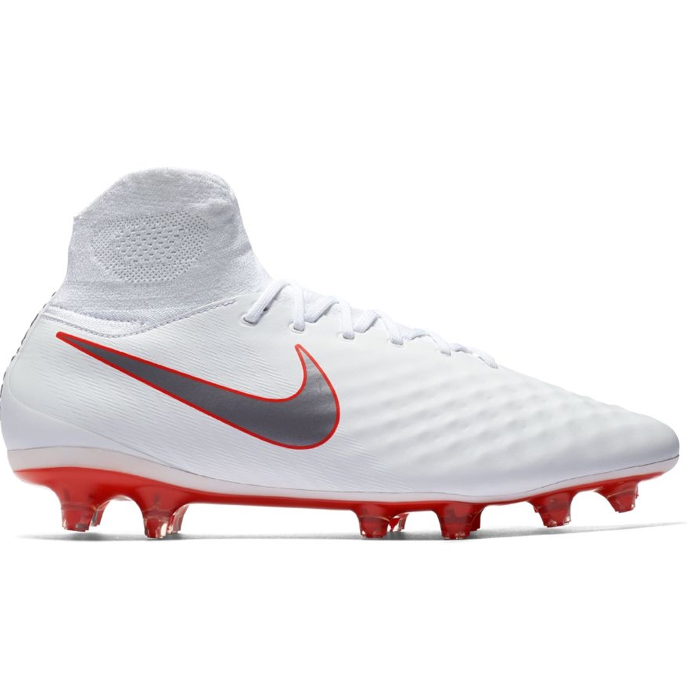bd370b331398 Nike Obra II Pro DF FG Soccer Cleats (White Metallic Cool Grey Light  Crimson)