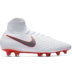 Nike Obra II Pro DF FG Soccer Cleats (White/Metallic Cool Grey/Light Crimson)