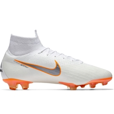 Nike Superfly VI Elite FG Soccer Cleats (White/Metallic Cool Grey/Total Orange)