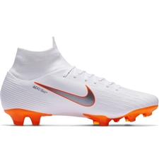 Nike Superfly VI Pro FG Soccer Cleats (White/Metallic Cool Grey/Total Orange)