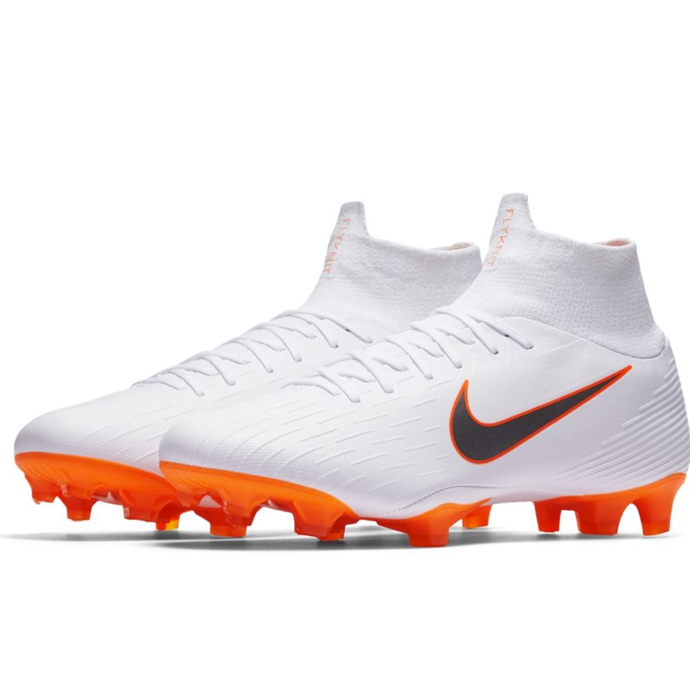 bc5ab01a948 Nike Superfly VI Pro FG Soccer Cleats (White Metallic Cool Grey Total Orange )