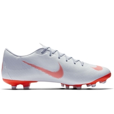 Nike Vapor XII Academy MG Soccer Cleats (Wolf Grey/Bright Crimson/Pure Platinum)