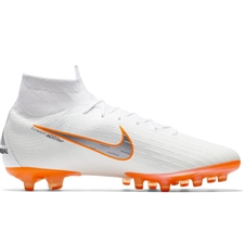 Nike Superfly VI Elite AG-Pro Soccer Cleats (White/Metallic Cool Grey/Total Orange)