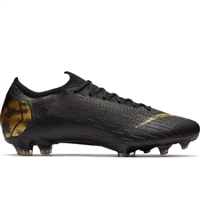 Nike Vapor 12 Elite FG Soccer Cleats (Black/Metallic Vivid Gold)