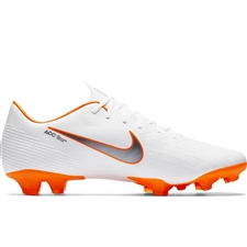 Nike Vapor XII Pro FG Soccer Cleats (White/Metallic Cool Grey/Total Orange)