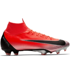 Nike Superfly VI Pro CR7 FG Soccer Cleats (Bright Crimson/Black/Chrome/Dark Grey)