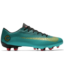 Nike Vapor XII Academy CR7 FG/MG Soccer Cleats (Clear Jade/Metallic Vivid Gold/Black)
