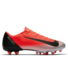 Nike Vapor 12 Academy CR7 MG Soccer Cleats (Bright Crimson/Black/Chrome/Dark Grey)