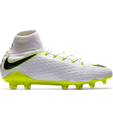 Nike Phantom III Pro DF FG Soccer Cleats (White/Metallic Cool Grey/Volt)
