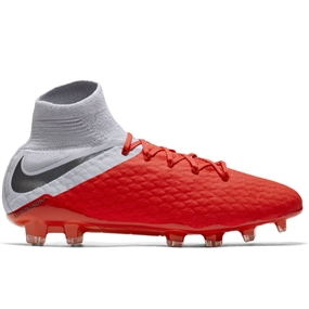 Nike Hypervenom III Pro DF FG Soccer Cleats (Light Crimson/Metallic Dark Grey/Wolf Grey)