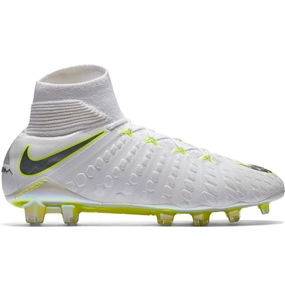 Nike Hypervenom Phantom III Elite DF FG Soccer Cleats (White/Metallic Cool Grey/Volt)