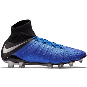 Nike Hypervenom 3 Elite DF FG Soccer Cleats (Racer Blue/Metallic Silver/Black/Volt)