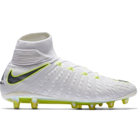 Nike Phantom III Elite DF AG-Pro Soccer Cleats (White/Metallic Cool Grey/Volt)