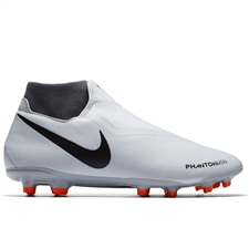 Nike Phantom Vision Academy DF FG/MG Soccer Cleats (Pure Platinum/Black/Light Crimson/Dark Grey)