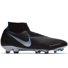 Nike Phantom Vision Elite DF FG Soccer Cleats (Black/Metallic Silver/Racer Blue)