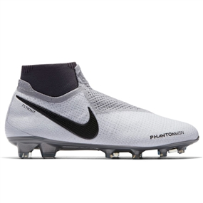 Nike Phantom Vision Elite DF FG Soccer Cleats (Pure Platinum/Black/Light Crimson/Dark Grey)