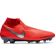 Nike Phantom Vision Elite DF FG Soccer Cleats (Bright Crimson/Metallic Silver)