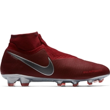 Nike Phantom Vision Elite DF FG Soccer Cleats (Team Red/Metallic Dark Grey/Bright Crimson)