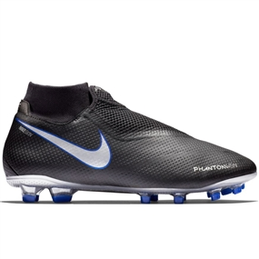 Nike Phantom Vision Pro DF FG Soccer Cleats (Black/Metallic Silver/Racer Blue)