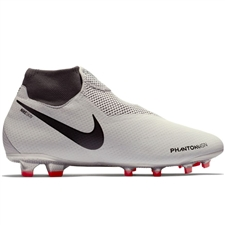Nike Phantom Vision Pro DF FG Soccer Cleats (Pure Platinum/Black/Light Crimson/Dark Grey)