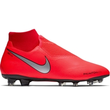 Nike Phantom Vision Pro DF FG Soccer Cleats (Bright Crimson/Metallic Silver)