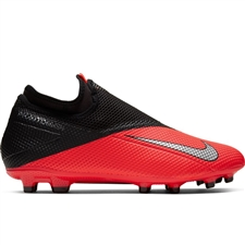 Nike Phantom Vision 2 Academy DF MG Soccer Cleats (Laser Crimson/Metallic Silver/Black)