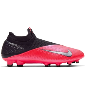 Nike Phantom Vision 2 Elite DF FG Soccer Cleats (Laser Crimson/Metallic Silver/Black)
