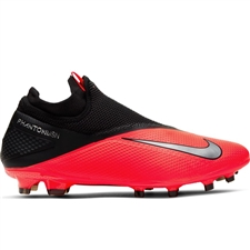 Nike Phantom Vision 2 Pro DF FG Soccer Cleats (Laser Crimson/Metallic Silver/Black)