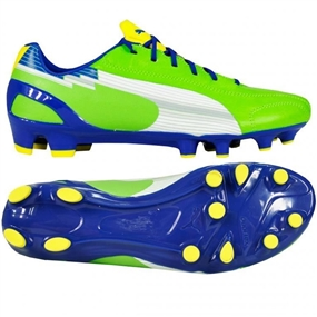 Puma evoSPEED 1 K FG Soccer Cleats (Jasmine Green/White/Monaco Blue/Fluorescent Yellow)