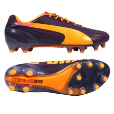 Puma evoSPEED 1.2 FG Soccer Cleats (Blackberry Cordial/Fluorescent Orange/FluorescentYellow)