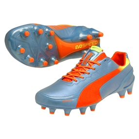 Puma evoSPEED 1.2 L FG Soccer Cleats (Sharks Blue/Fluro Peach)