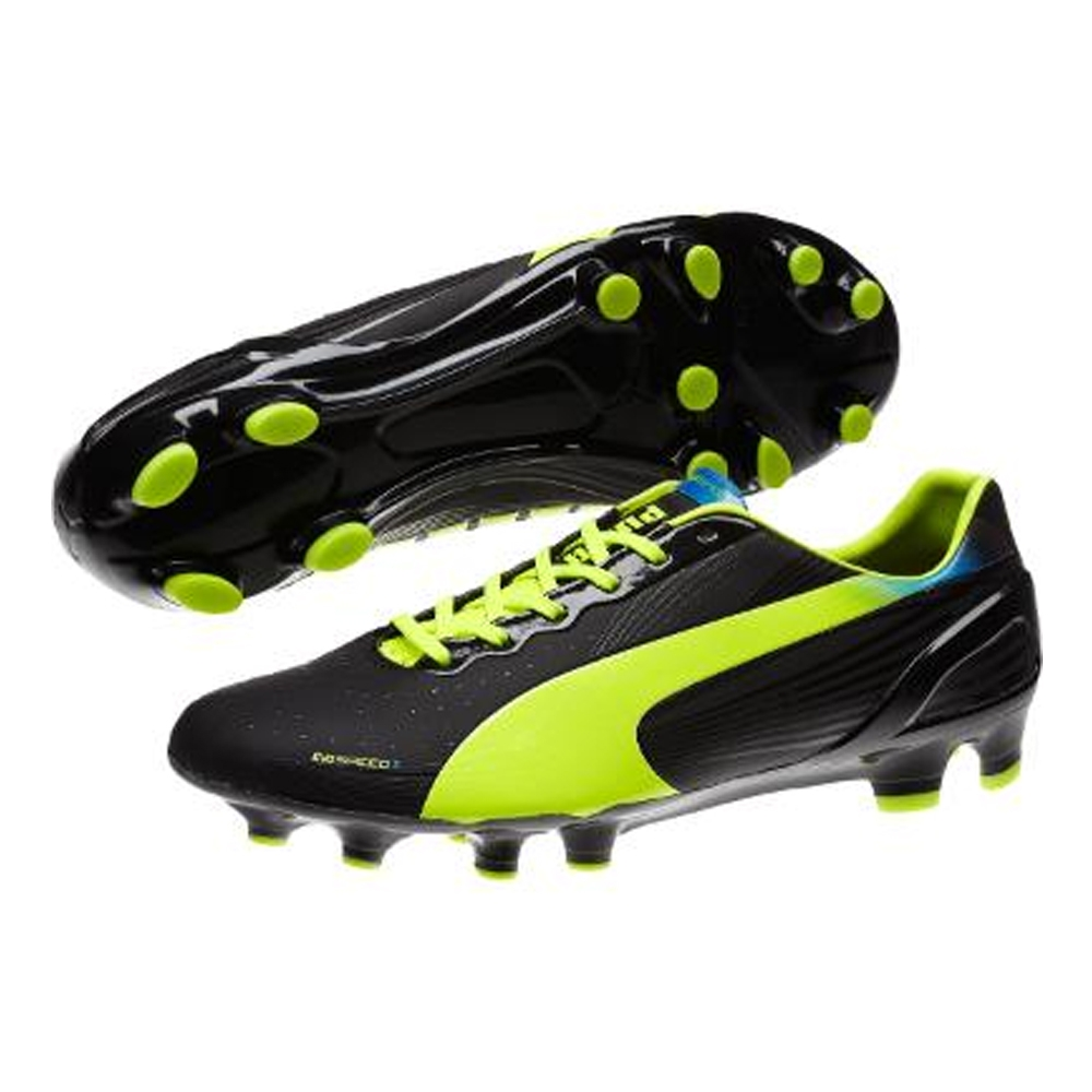 Puma evoSPEED 2.2 FG Soccer Cleats (BlackFluorescent Yellow)
