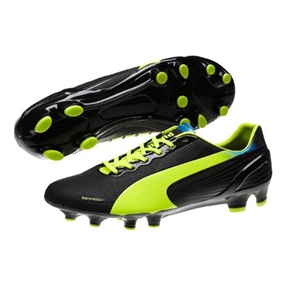 Puma evoSPEED 2.2 FG Soccer Cleats (Black/Fluorescent Yellow)