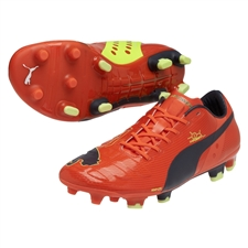 Puma evoPOWER 1 FG Soccer Cleats (Fluro Peach/Ombre Blue)