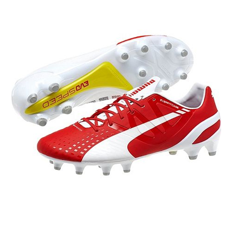 Puma Arsenal evoSPEED 1.3 FG Soccer Cleats (White/High Risk Red)