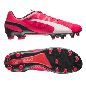 Puma evoSPEED 1.3 FG Soccer Cleats (Bright Plasma/White/Peacoat)