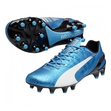 Puma evoSPEED 1.3 FG Soccer Cleats (Hawaiian Ocean/White/Black)