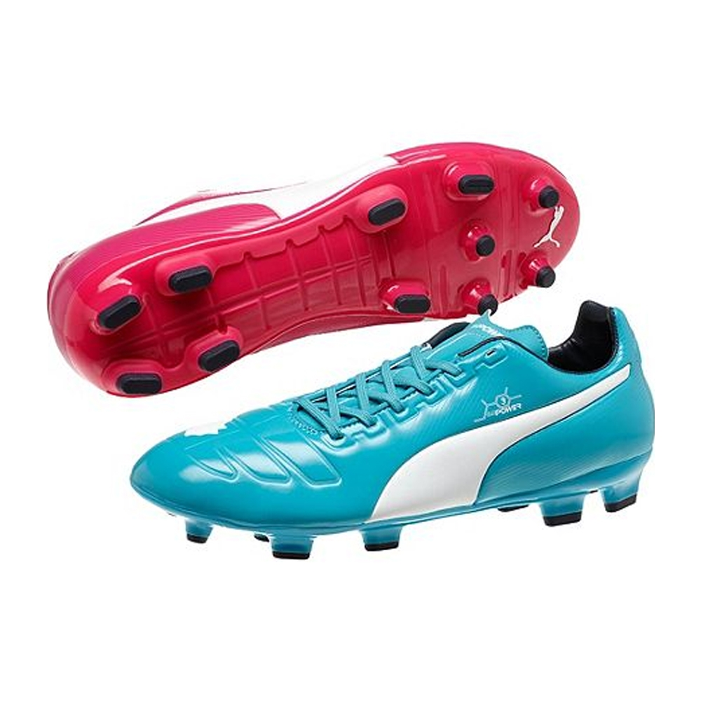 Puma evoPOWER 3 Tricks FG Soccer Cleats (Beetroot Purple/Bluebird/White)