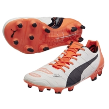 Puma evoPOWER 1.2 FG Soccer Cleats (White/Total Eclipse/Lava Blast)