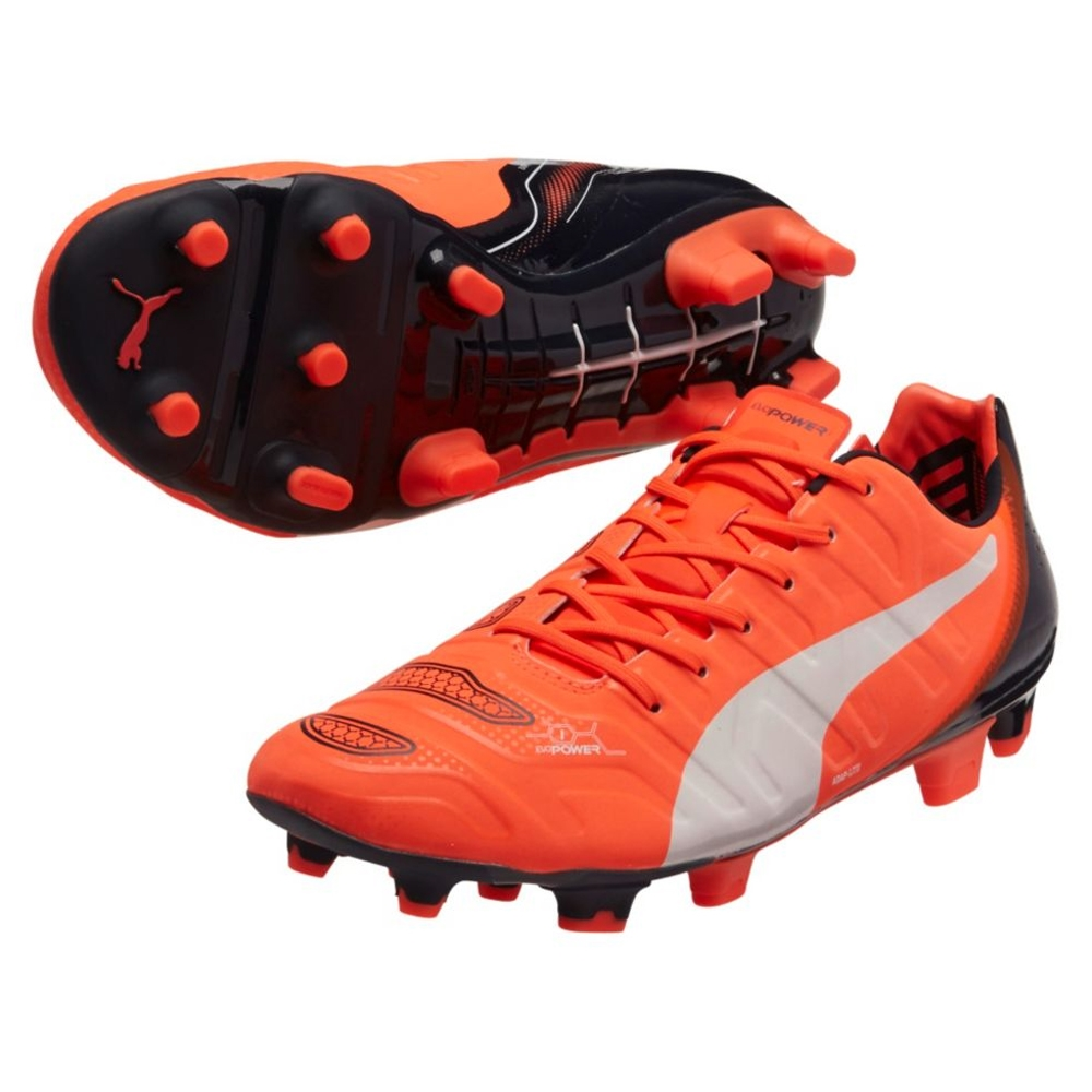 Puma evoPOWER 1.2 FG Soccer Cleats (Lava Blast/White/Total Eclipse)