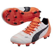 Puma evoPOWER 3.2 FG Soccer Cleats (White/Total Eclipse/Lava Blast)