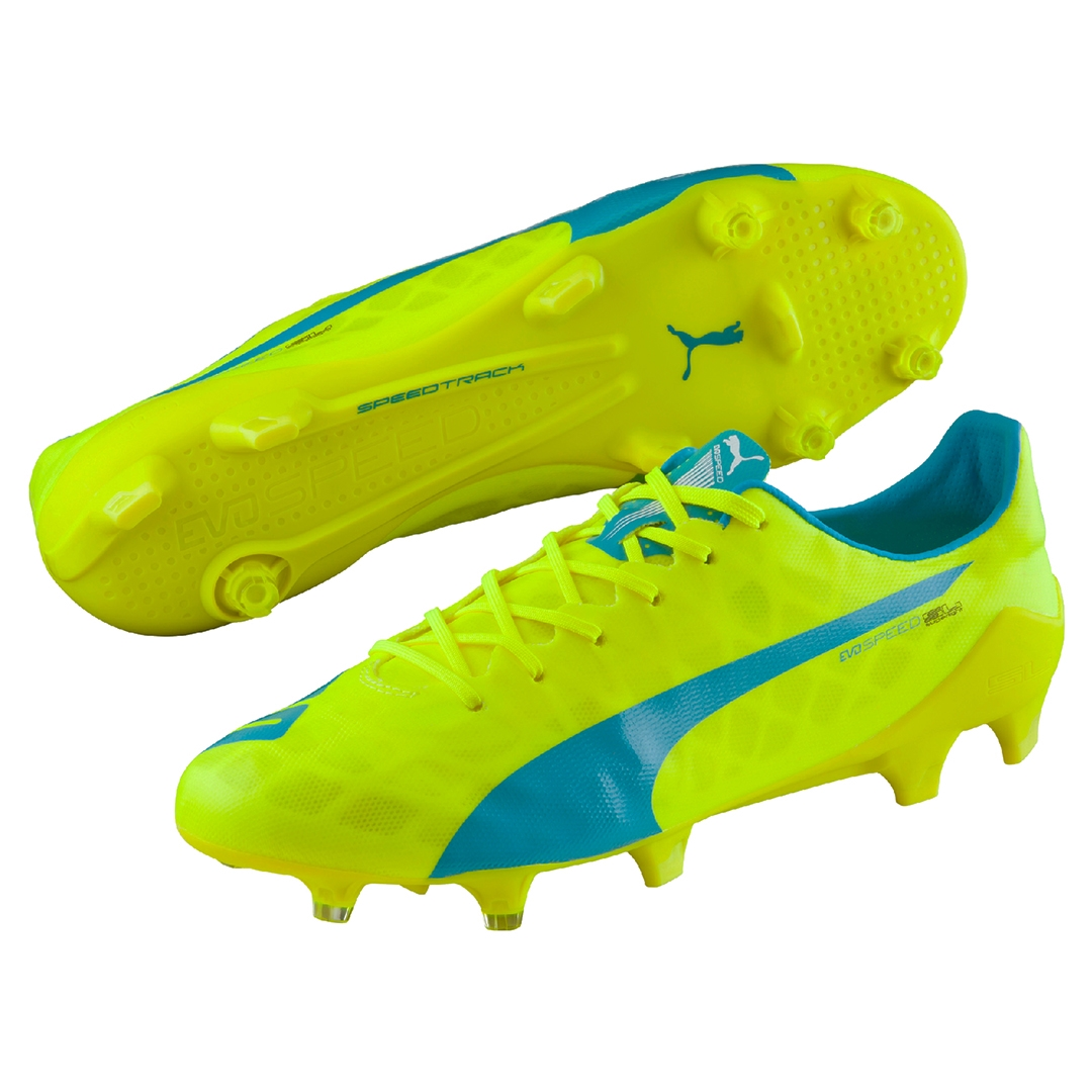 Puma evoSPEED SL FG Soccer Cleats (Safety Yellow/Atomic Blue/White)